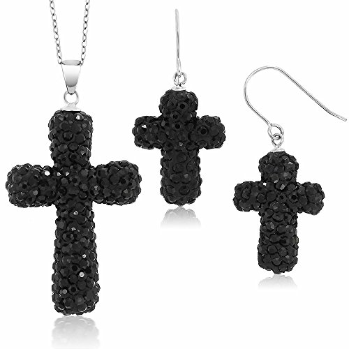 (Gem Stone King Sterling Silver Black Pave Crystal Cross Pendant and Earrings Set with 18inches Chain)