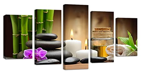 Ardemy Canvas Painting Art Zen Stones Candle Botanical 5 Pieces, Stretched and Framed Bamboo Pictures Prints Artwork Ready to Hang for Bedroom Bathroom Spa Salon Wall Decor Waterproof, Hook Mounted