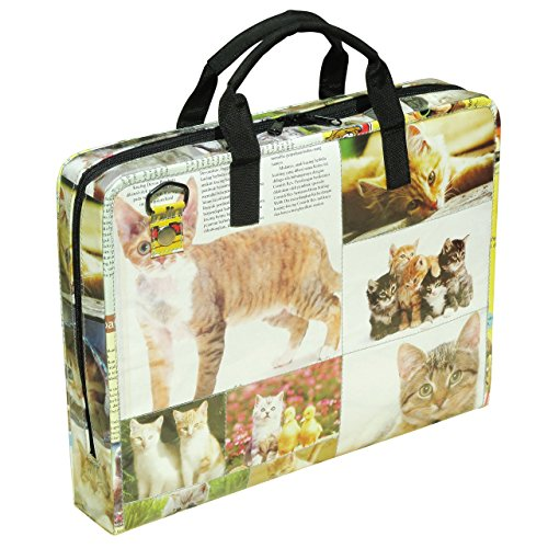 LAPTOP briefcase for cat lovers, FREE SHIPPING, padded office work bag upcycled upcycle upcycling recycling different smart person vegetarians products eco friendly people enthusiasts enthusiast by Upcycling by Milo