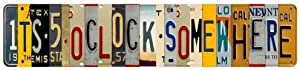 Anjoes Five O Clock Somewhere Unique Metal Wall Decor for Home, Bar, Diner, Pub, 16 x 4 Inches,Fun Kitchen Decor, Unique Drinking Sign, Funny Bar Signs, Vintage Kitchen Signs