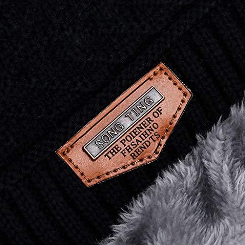 MiMiey Herren Warme Kleine Mützen Winter Dicke Mütze Schal Zweiteilige Winddichte Strickmütze