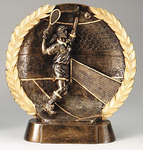 Etch Workz Tennis Awards - Bronze Finish Resin Base Female Tennis Trophy - 7-1/2