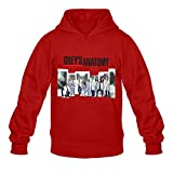 Grey¡¯s Anatomy Cool 100% Cotton Red Long Sleeve Hoodie For Mens Size S