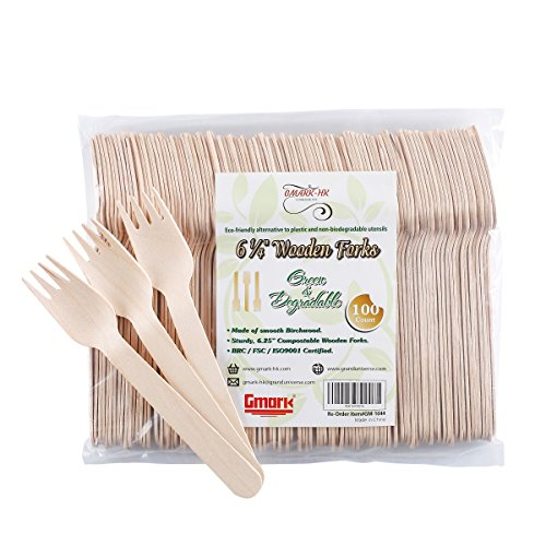 Disposable Wooden Forks 100pc Set by Gmark - Eco-Friendly Biodegradable Utensils - Natural Birchwood Forks for Parties, Events, BBQ, Weddings, Picnics (Party Forks)