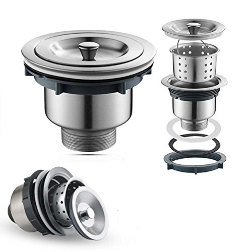 (Oakland 3-1/2 inch Kitchen Sink Strainer with Removable Deep Waste Basket/Drain Strainer Assembly/Sealing Lid, Stainless Steel)