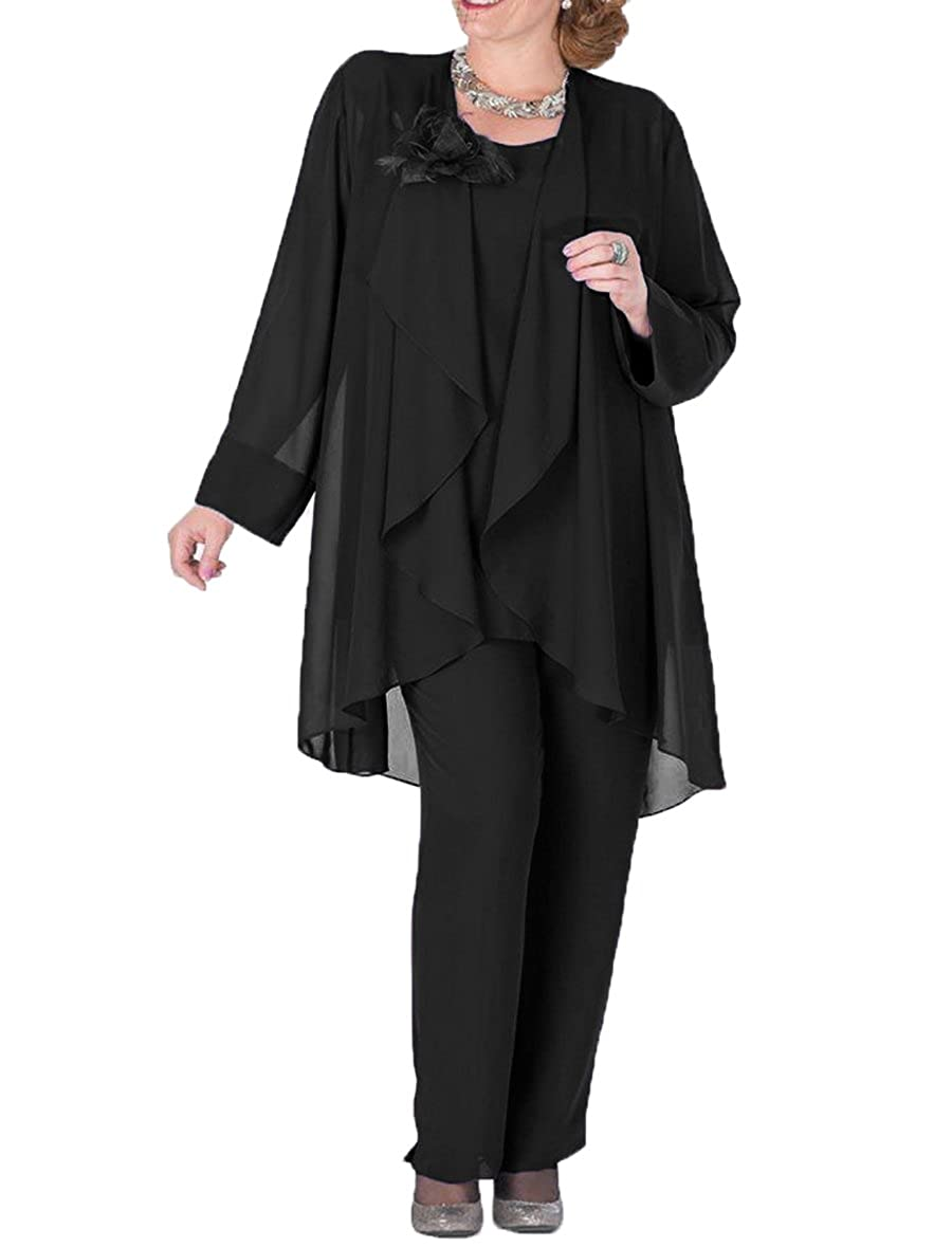 Black The Peachess 3 Pieces Mother Pantsuits with Jacket Plus Size Formal Outfits