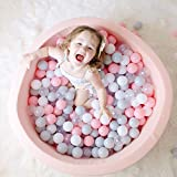 Wonder Space Deluxe Kids Round Ball Pit - Handmade Elastic Durable & Thick Memory Foam Sponge with Soft & Smooth Cotton Cover, Kiddie Balls Pool Indoor Nursery Baby Playpen Toy Gift Age 1+, Light Pink
