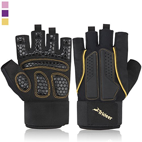 Trideer Double Protection Weight Lifting Gym Gloves, Microfiber Material and Silica Gel Padded Anti-slip Gloves for Extra Grip, Breathable & Ultralight Workout Gloves(Golden, XL (Fits 8.2-9.0 Inches))