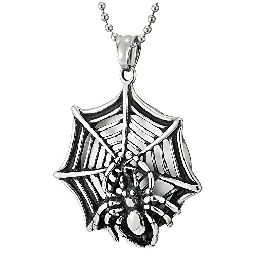 COOLSTEELANDBEYOND Rock Punk Steel Vintage Spider Web Pendant Necklace for Men Women with 30 inches Ball Chain ()