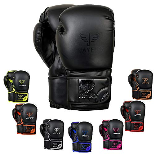 Jayefo Glorious Boxing Gloves (Black, 16 OZ)