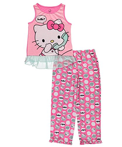 Hello Kitty Girls' Big 2pc Sleepwear Tank Set, Pink, M