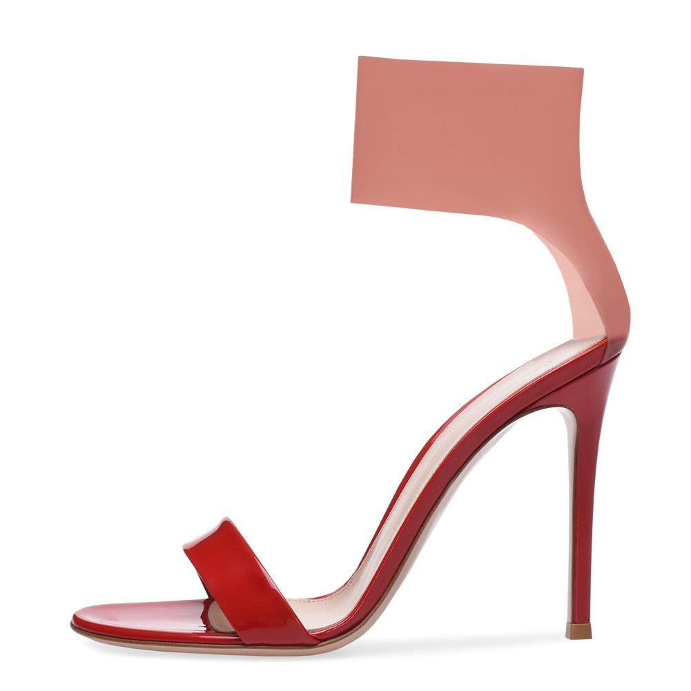 Damen Sandaletten High Heels Knöchelriemchen Sandalen Absatz Offene Schuhe Rot Schwarz Größe 35-45 Red