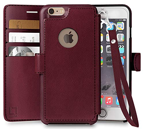 LUPA iPhone 6S Wallet case, iPhone 6 Wallet Case, Durable and Slim, Lightweight with Classic Design & Ultra-Strong Magnetic Closure, Faux Leather, Wristlet Burgundy, for Apple iPhone 6s/6
