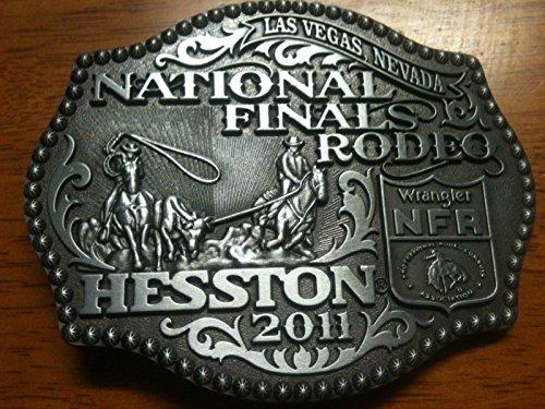 RARE 2011 Hesston NFR Wrangler Belt Buckle -- Team Roping -- Mint Condition -- Junior / Women's Size
