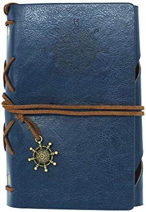 MKDLB Notizbuch Spiral Travel Journal Retro Notebook Kleines 13x9 cmTagebuch Tagebuch LederSoftcover AustauschbaresKraftpapier innen, DeepBlue