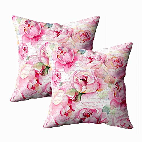 - Shorping Sleepyhead Pillow Cover, Zippered Pillowcases 18X18Inch 2 Pack Throw Pillow Covers Watercolor English Roses Pattern for Home Sofa