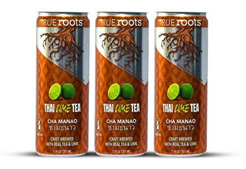 """Sparkling Thai Iced Tea with Lime & Tamarind """"Thai Town Original"""" by TrueRoots. Made with REAL Black Tea, Asian Tamarind, Cardamom, Cinnamon & Lime Juice, All-Natural with No Preservatives and Artificial Flavorings. 12 Fl Oz (Pack of 12)"""