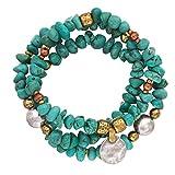 Silpada Sterling Silver, Brass, Copper and Howlite Stretch Bracelets, 6.75
