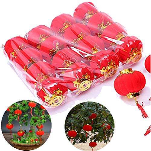 Ioffersuper 16pcs/lot Traditional Chinese Red Lanterns Hang Mini Lantern Home Decoration for New Year Wedding Party Spring Festival ()