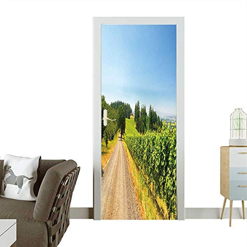 Homesonne Decorative Door Decal Gravel Road Passing Vineyards Near Dundee,Oregon Stick The Picture on The Door W38.5 x H79 INCH