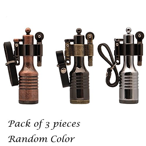 Ezyoutdoor 3 Pieces High-grade Kerosene Bottles Lighters Wheel Wizard Style Cigarette Jet (Style Cigarette Lighter)