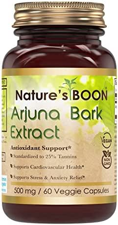 Nature's Boon Premium Quality Arjuna Bark Extract 500 mg, 60 Veggie Capsules (Glass Bottle) -Potent Antioxidant Property -Cardiovascular Support - Supports Healthy Blood Lipid Levels