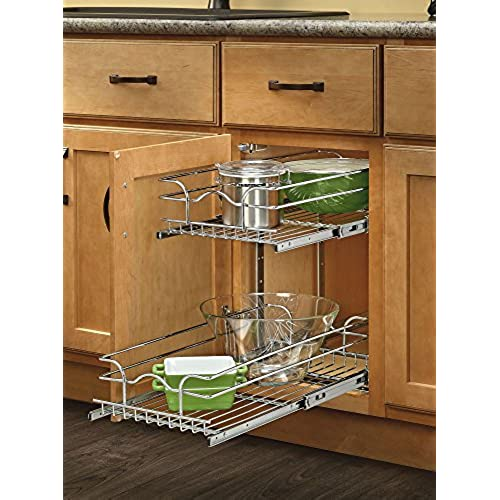 Rev A Shelf 5WB2 0918 CR Base Cabinet Pullout 2 Tier Wire Basket Reduced  Depth Sink U0026 Base Accessories, 9 W X 18 D Inches