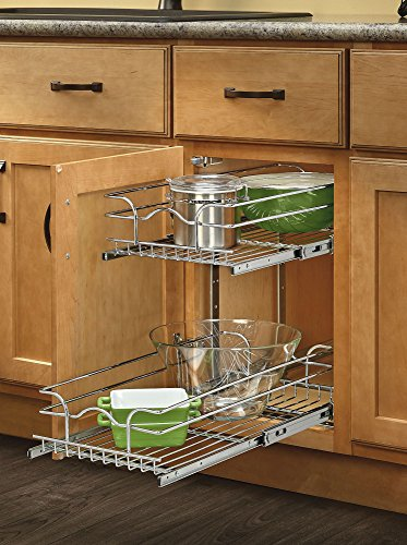 (Rev-A-Shelf 5WB2-0918-CR Base Cabinet Pullout 2 Tier Wire Basket Reduced Depth Sink & Base Accessories, 9 W x 18)