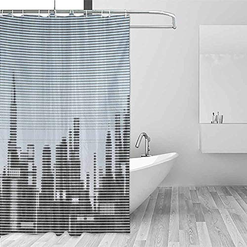 (Xlcsomf Waterproof Shower Curtain Digital City Skyline with Futuristic Computer Art Effects and Dot Generic Illustration Soft to The Touch Baby Blue Black,W36 xL72)