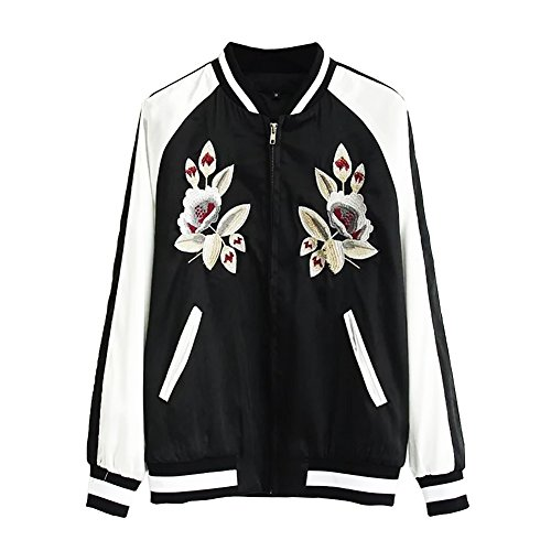 Valor comprar GO GO GO mujeres de la moda cremallera bolsillo bordado Casual Blazer perchero de pared de Sexy piloto Jackt negro