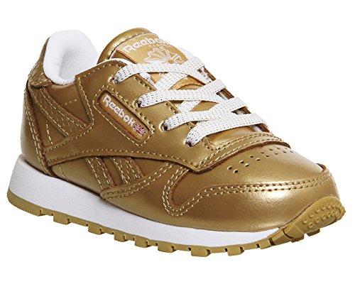 Reebok Unisex Baby Classic Leather Metallic Sneaker vergoldet (Rbk Brass / weiß)