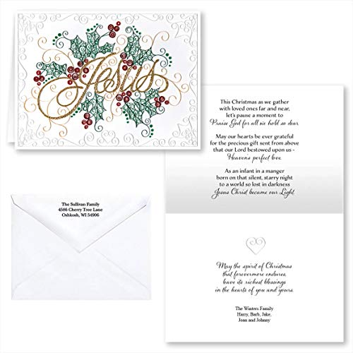 Filigree Christmas Cards - Paper Filigree Christmas Card Set of 20, Card and Envelope Personalization
