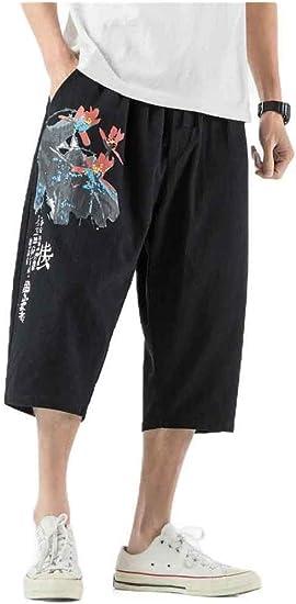 Candiyer 男性ビッグ&トールコットンリネン中国スタイル夏リラックスフィットレッグパンツ