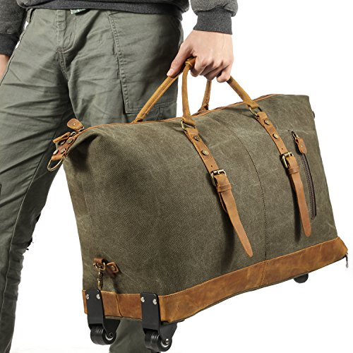 Kattee Luggage Rolling Duffel Bag Leather Trim Canvas Wheeled Carry-on Travel Bag 50L (Army Green) by Kattee (Image #5)