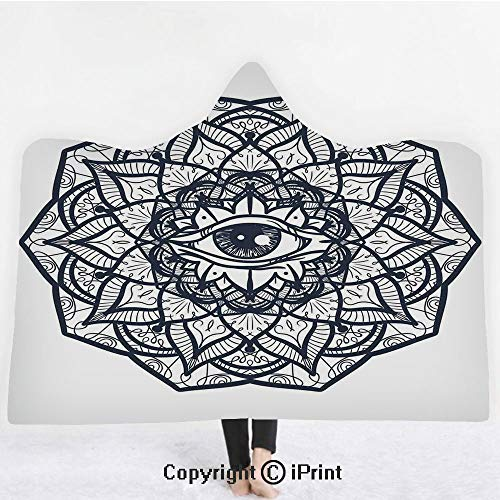 "Occult 3D Print Soft Hooded Blanket Boys Girls Premium Throw Blanket,Abstract Ornamental Eye with Ethnic Mandala Form Providence Energy in Action Design Decorative,Lightweight Microfiber(Kids 50""x60"")"