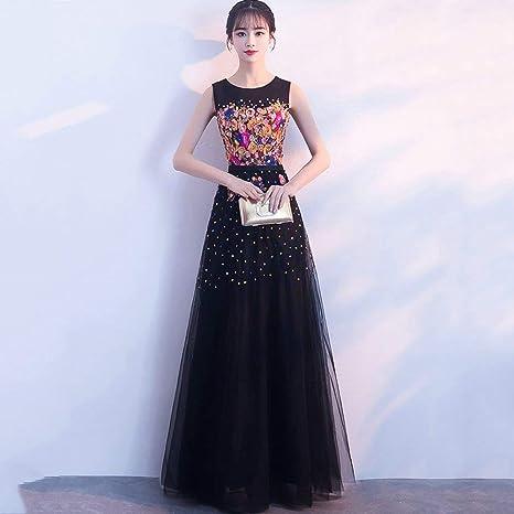 W-D Vestido de Noche Negro Falda Larga Elegante Dignificado ...