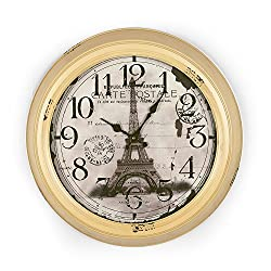 Adeco 18~19 Large Yellow Beige Antique-Look Dial Eiffel Tower Decorative Retro Vintage Traditional Wall Hanging Circle Iron Clock, Arab Numerals Numbers, Silent Battery Quartz, Home Office Decor