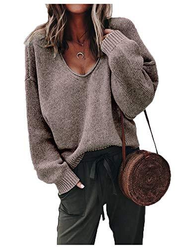 ZHENWEI Womens Deep V-Neck Sexy Sweaters Long Sleeve Warm Fall Tops Sweatshirts