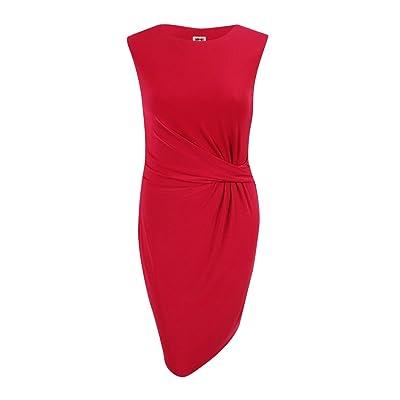 Anne Klein Women's Knotted Side-Twist Sleeveless Dress (Summer Red Apple, 14)