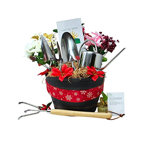 Deluxe Gardener Gift Basket Stainless Steel Tools and Decorative Planter (Happy Holidays)