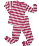 Striped 2 Piece Pajama Set 100% Cotton (6 Years, Berry & Chime)