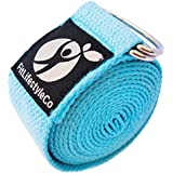 Yoga Strap - Best For Stretching - 6 Colors - Instructional Video - Durable Cotton With Metal D-Ring