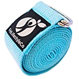 Yoga Strap - Best For Stretching - 6 Colors - Instructional Video - Durable Cotton With Metal D-Ring, Light Blue