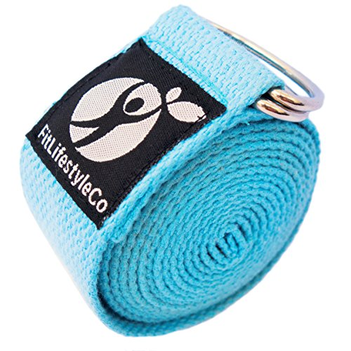 FitLifestyleCo Yoga Strap Best for Stretching  6 Colors Instructional Video  Durable Cotton with Metal DRing Light Blue