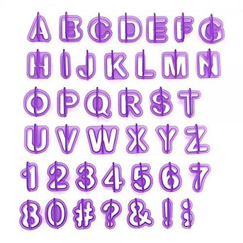 Anokay Fondant Buchstaben Alphabet Zahlen Ausstecher Ausstechformen Auswerfer Stempel Zeichensetzung Tortendeko Kuchendekorationsset Backen (40 teilig)