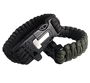OmeGod Outdoor Survival Paracord Rope Bracelet with Magnesia Fire Starter Stainless Scraper and Whistle, 7-Strand Parachute Cord