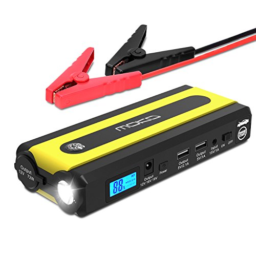 Multi-function Car Jump Starter, MoKo Portable Power Bank External Battery Pack, 500A Peak 13600mAh 12V Auto Emergency Booster Charger + 2 USB Ports, Compass, Cigarette Lighter Socket, LED Flashlight 12 Volt Booster