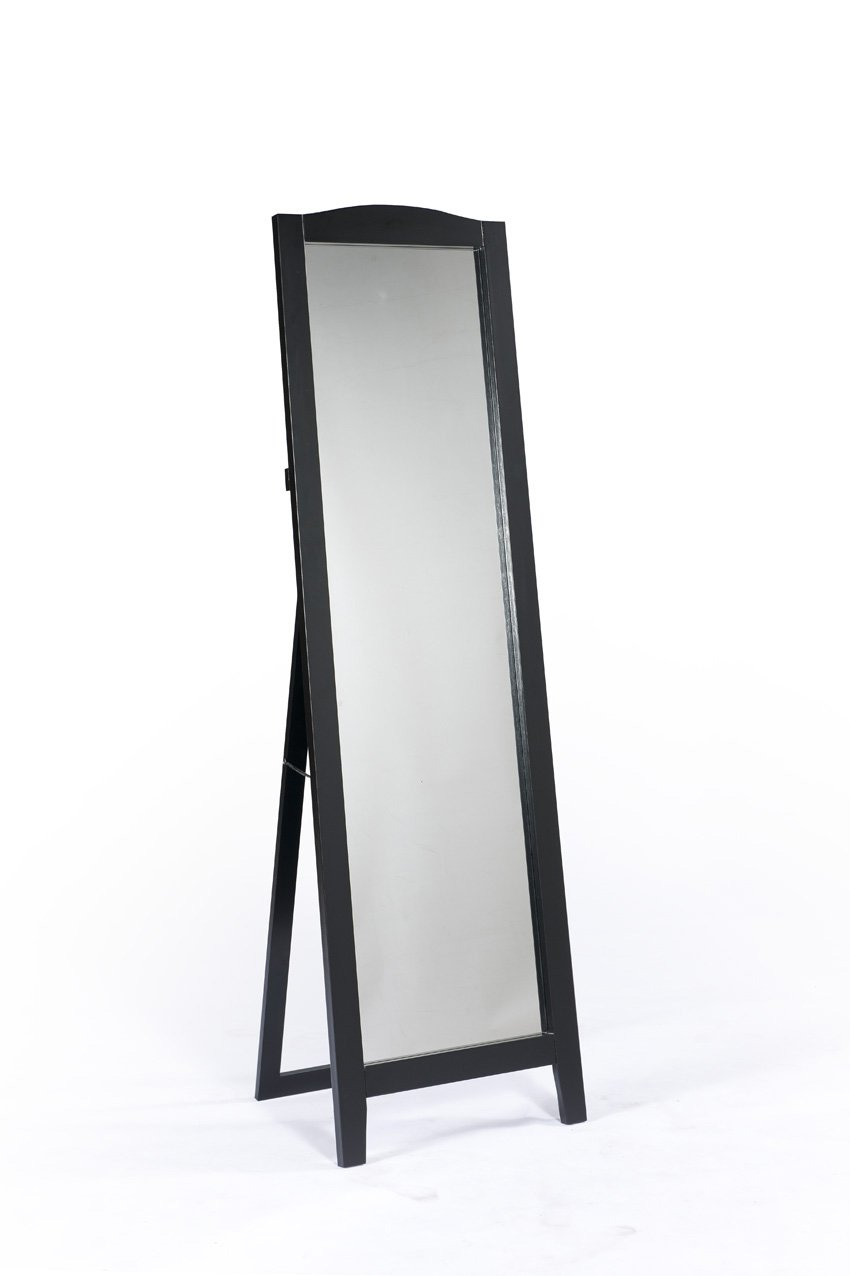 King's Brand Black Finish Wood Frame Floor Standing Mirror