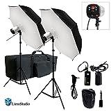 LimoStudio 2 x 40'' Umbrella Softbox Reflector White Diffuser with 300W Flash Strobe Photo Studio Monolight Speedlite Lighting Kit, AGG1779