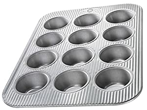 USA Pans 12 Cup Cupcake/Muffin Pan, Aluminized Steel with Americoat by USA Pans